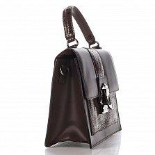 Кожаная сумка на каждый день Genuine Leather 8835 коричневого цвета с металлической застежкой