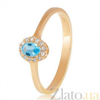 Золотое кольцо Белинда с голубым топазом и фианитами EDM--КД4034ТОПАЗ
