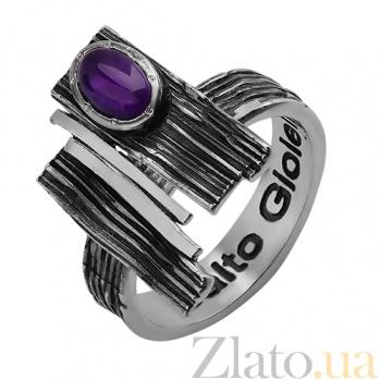 Серебряное чернёное кольцо с аметистом Либертина 000017271