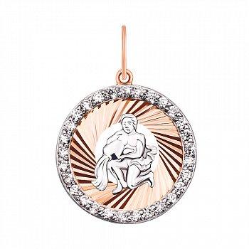 Підвіска Водолій з комбінованого золота з фіанітами 000130744