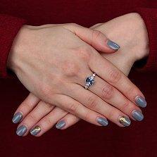 Серебряное кольцо Адалин с кварцем под лондон топаз и фианитами