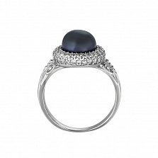Серебряное кольцо с черным жемчугом Зефир
