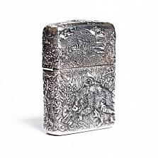 Серебряная зажигалка Охота