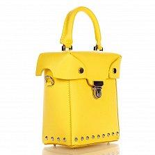 Кожаный клатч-сундучок Genuine Leather 1695 бананового цвета с короткой ручкой и механическим замком