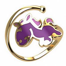 Золотое кольцо Лошадка с эмалью