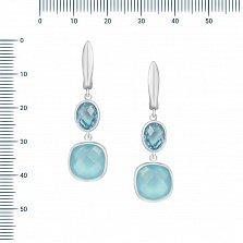 Серебряные серьги-подвески Париса с топазом и голубым халцедоном