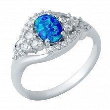 Серебряное кольцо Жюстин с опалом и фианитами