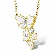 Золотой кулон Цветочное лето в желтом цвете с бабочкой, цветами, бриллиантами и белой эмалью