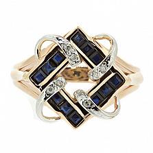 Золотое кольцо с сапфирами и бриллиантами Вирджиния