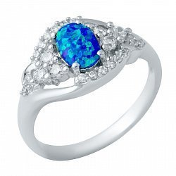 Серебряное кольцо с опалом и фианитами 000074731