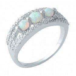 Серебряное кольцо с опалами и фианитами 000128434