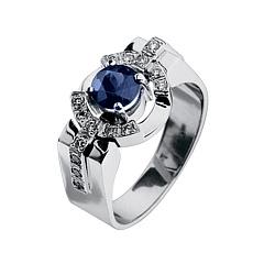 Мужское кольцо с сапфиром и бриллиантами Гипнос