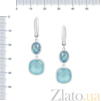 Серебряные серьги-подвески Париса с топазом и голубым халцедоном 000082037