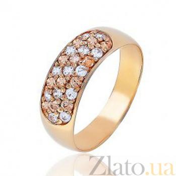 Золотое кольцо с цирконом цвета шампань Благородство EDM--КД045Ш
