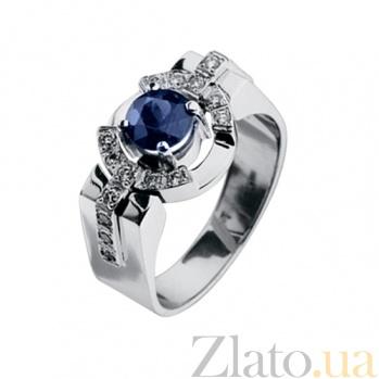 Мужское кольцо с сапфиром и бриллиантами Гипнос KBL--К1552/бел/сапф