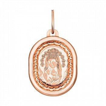 Ладанка из красного золота Богородица с насечками 000133946