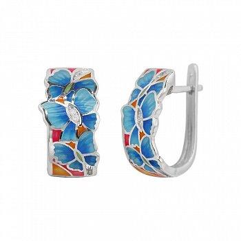 Серебряные серьги Лето в разгаре с фианитами и цветной эмалью 000081831