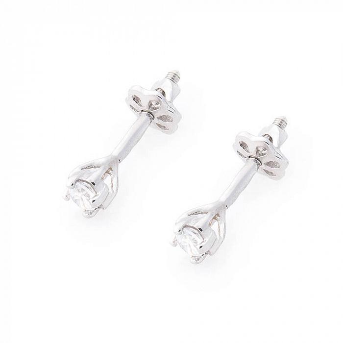 Серебряные серьги-пуссеты Дина с цирконием 000080184