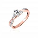 Серебряное кольцо Лурдес с фианитами и позолотой