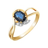 Золотое кольцо Мелодия лета с сапфиром и бриллиантами