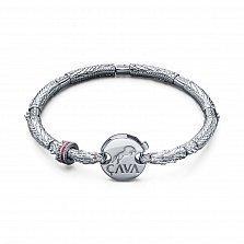 Серебряный браслет Хранитель сокровищ (драконы) с красными фианитами