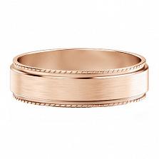 Мужское обручальное кольцо из розового золота Исполнение желаний