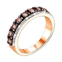 Кольцо в комбинированном цвете золота с коньячными и белыми бриллиантами с родированием 000124907