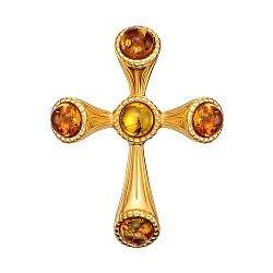 Серебряный декоративный крестик с янтарем и позолотой 000137627