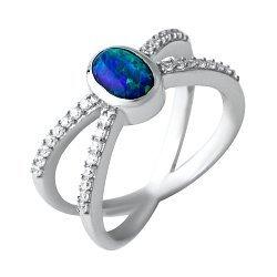 Серебряное кольцо с синим опалом и фианитами 000074300