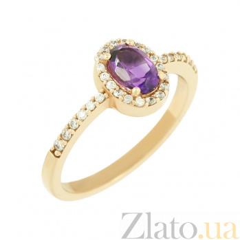 Золотое кольцо с аметистом и фианитами Верити 2К480-0047