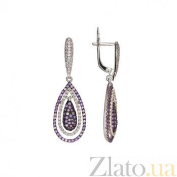 Золотые серьги с фиолетовым и белым цирконием Зарина VLT--ТТ258-2
