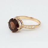 Золотое кольцо с раухтопазом и фианитами Эстель