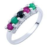 Серебряное кольцо Тришна с рубинами, изумрудами, сапфирами и фианитами