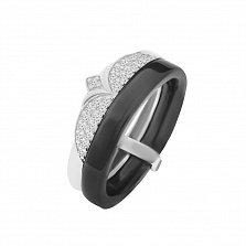 Двойное кольцо из черной керамики и серебра Лавиния с кристаллами циркония