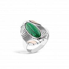 Серебряное кольцо Франческа с золотыми накладками и имитацией малахита
