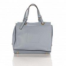 Кожаная деловая сумка Genuine Leather 8951 светло-синего цвета на молнии, с металлическими ножками