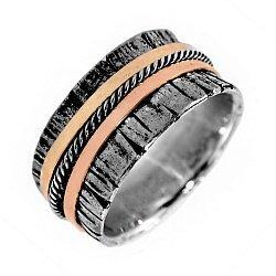Кольцо из серебра Mast с золотыми накладками и чернением 000091342