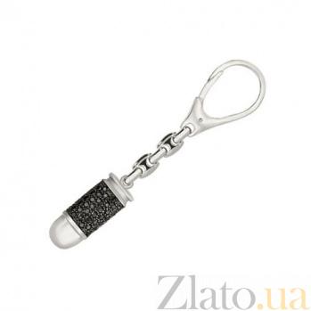 Брелок из белого золота Пуля для оружия с цирконием VLT--Т39902