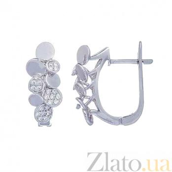 Серебряные серьги с фианитами Оригинальность 000027140