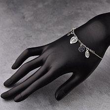 Серебряный браслет Весеннее настроение с подвесками
