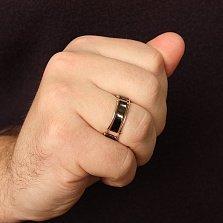Перстень в белом и черном золоте Антей