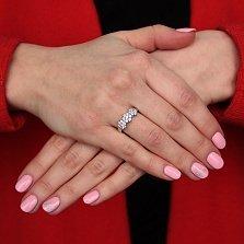 Серебряное кольцо Незабудки с белыми фианитами и родиевым покрытием