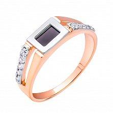 Золотой перстень-печатка Арамис в комбинированном цвете с ониксом и фианитами