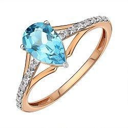 Кольцо из красного золота с топазом и фианитами 000146013