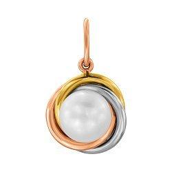 Кулон в комбинированном цвете золота с жемчужиной 000131561