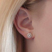 Серебряные серьги-пуссеты Окружность с белыми фианитами