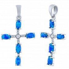 Серебряный крестик Лидия с синим опалом и цирконием