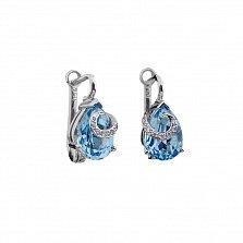 Серьги из белого золота Саманта с голубым топазом и бриллиантами