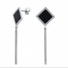 Серебряные серьги-пуссеты Черные ромбы с подвесками, черным ониксом и белыми фианитами