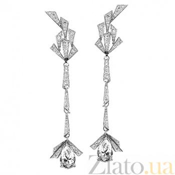 Серьги из белого золота с топазами и бриллиантами Золотой ангел 000029679
